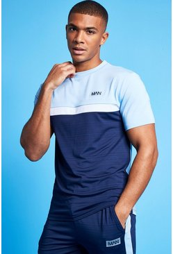 Pale blue blue Man Active Marl Colour Block T Shirt