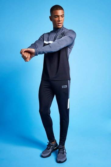 Charcoal grey Man Active Marl Colour Block 1/4 Tracksuit