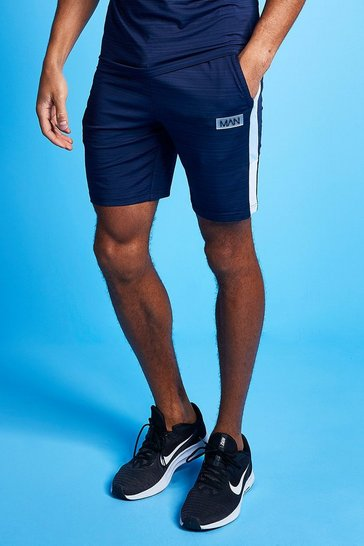 Pale blue blue Man Active Marl Colour Block Short
