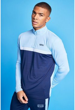 Pale blue blue Man Active Marl Colour Block 1/4 Zip Top