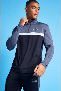 Charcoal grey Man Active Marl Colour Block 1/4 Zip Top