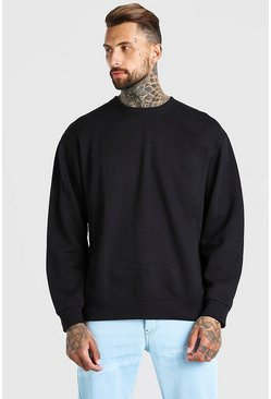 Black Oversized Crew Neck Fleece Sweatshirt