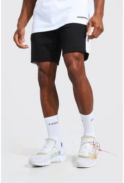 Black Original Man Mid Length Panel Jersey Shorts