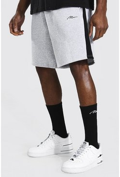 Grey marl grey Man Signature Mid Length Panel Jersey Shorts