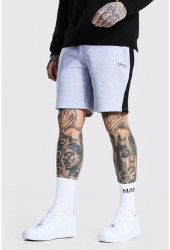 Grey marl grey Original Man Mid Length Panel Jersey Shorts