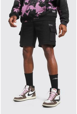 Short cargo mi-long en jersey - MAN, Black noir