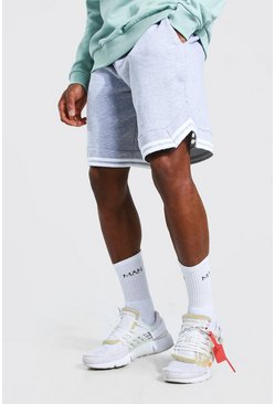 Grey marl grey Basic Basketball Jersey Shorts With Tape