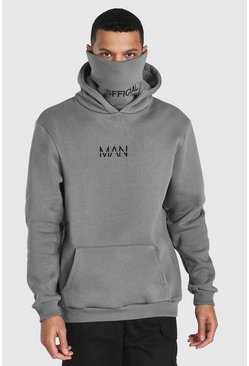 Slate grey Tall Man Official Jersey Hoodie With Snood
