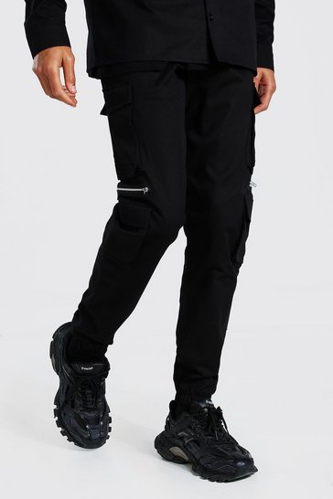 Black Tall Man Twill Zip Multi Pocket Cargo Trouser