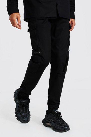 Black Tall Man Twill Zip Multi Pocket Cargo Trouser