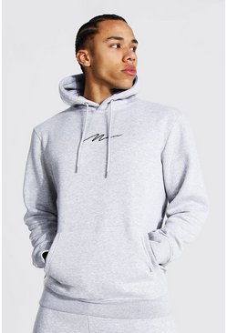Grey marl grey Tall Man Signature Embroidered Hoodie