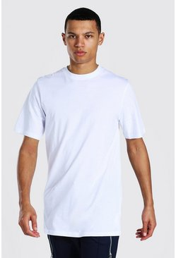 White Tall Basic Longline T-shirt