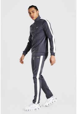 Grey marl grey Tall Man Funnel Neck Tricot Tracksuit