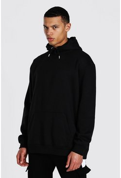 Black Tall Oversized Basic Hoodie