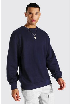 Tall Oversized-Sweatshirt, Marineblau
