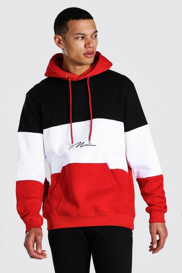 Black Tall Colour Block Man Signature Hoodie