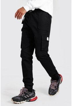 Black Tall Twill Belt Front Cargo Jogger With Tab
