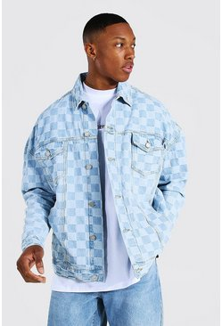 Light blue blue Oversized Checkerboard Denim Jacket