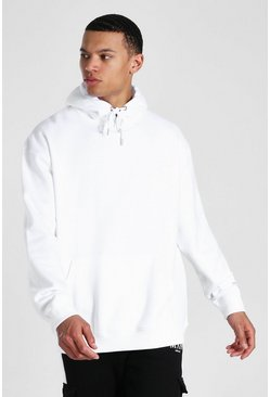 White Tall Oversized Basic Hoodie