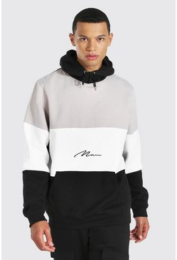 Stone beige Tall Colour Block Man Signature Hoodie