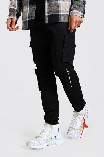 Black Tall Multi Cargo Pocket Cuffed Trouser