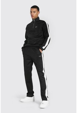 Black Tall Man Funnel Neck Tricot Tracksuit