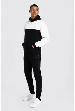 Black Tall Man Colour Block Tracksuit With Tape