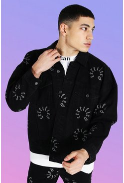 True black Oversized Certified Print Denim Jacket
