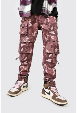 Chocolate brown Official Man Camo Cargo Trouser With Knee Tog