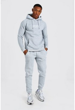 Grey marl grey Man Roman Hooded Rib Tracksuit