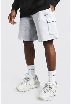 Grey marl grey Original Man Mid Length Cargo Jersey Shorts