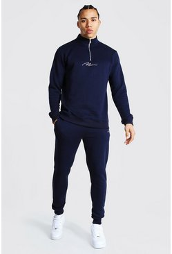 Navy Tall Man Signature Half Zip Tracksuit