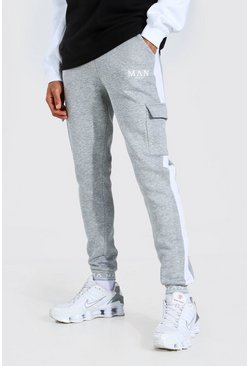 Tall - Jogging cargo skinny à ourlets brodés MAN, Grey marl gris