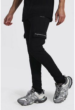 Black Tall Man Cargo Joggers With Adjustable Cuff