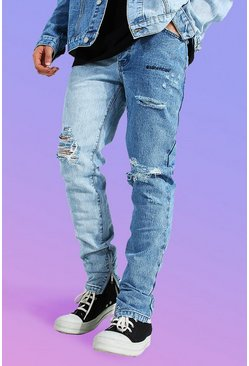 Ice blue Skinny Rigid Sliced Knee Rip Jean