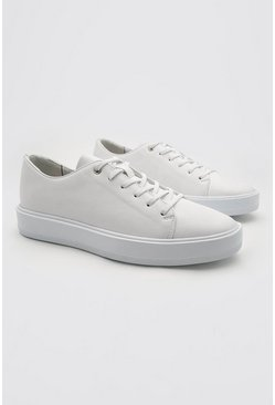 White Pu Lace Up Trainer