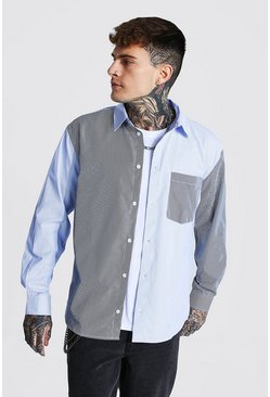 Multi Oversized Pinstripe Spliced Shirt
