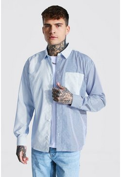 Light blue blue Man Oversized Pinstripe Spliced Shirt