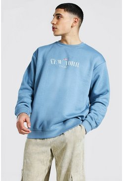 Dusty blue blue Oversized New York Print Sweatshirt