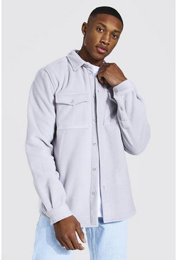 Light grey grey Man Official Fleece Overhemd