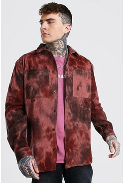 Choc brown Oversized Tie Dye Cord Shirt