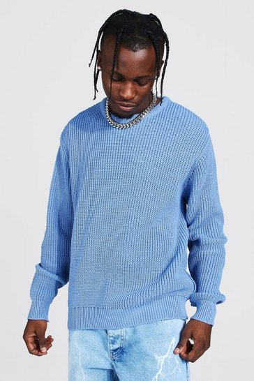 Dusty blue blue Crew Neck Fisherman Rib Jumper