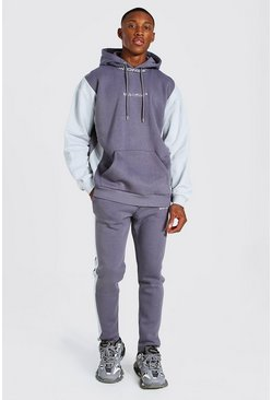 Leisteen grey Oversized Geribbeld Colour Block Man Trainingspak Met Sweater
