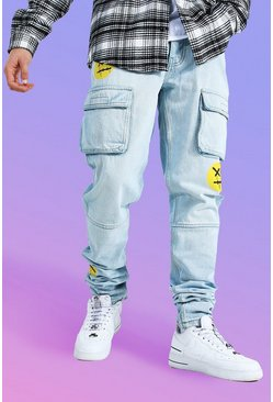 Ice blue Tapered Stacked Rigid Face Print Cargo Jean