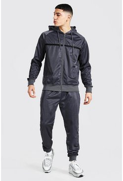 Charcoal grey Poly Zip Hooded Tracksuit Stripe Contrast