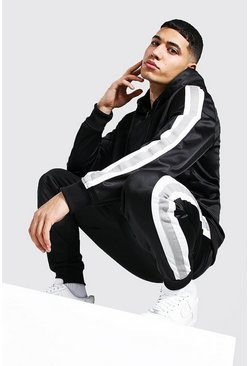 Black Poly Zip Hooded Tracksuit With Tape