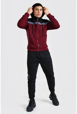 Burgundy Colour Block Zip Through Hooded Tracksuit