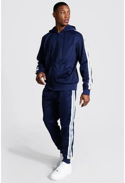Navy Poly Zip Hooded Tracksuit With Tape