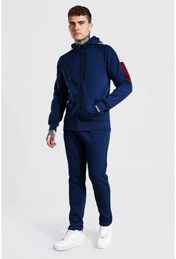 Navy Zip Through Hooded Sleeve Panel Tracksuit