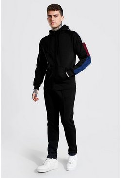 Black Zip Through Hooded Sleeve Panel Tracksuit